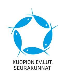 Kuvassa viisi kalaa ympyrässä. Kuvassa teksti Kuopion ev.lut.seurakunnat