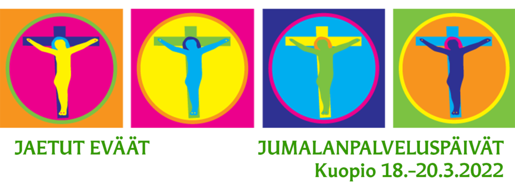 Jaetut eväät -jumalanpalveluspäivien logo, jossa rinnakkain neljä kirkasväristä öylättiä